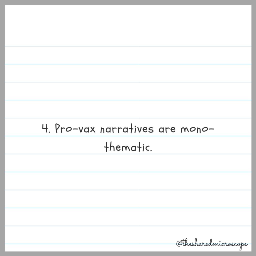 4. pro-vax narratives are mono-thematic